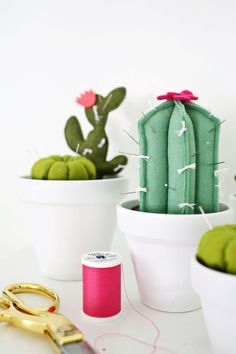 In my world, cute is king. I am totally one of those suckers that will pay extra or spend more time making something that is a cuter version of an everyday object. I've been in love with a few cactus pincushions I've seen online, and while I wanted to make one for myself, I couldn't just choose one type to make! Solution? Make them all! This way you can pick...