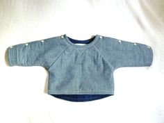I want this in adult size!  Chambray & Linen Quilted Sweatshirt Jacket by HarrietsHaberdashery