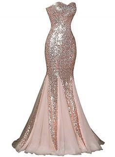 Glamourous Polyester Sweetheart Sequin Mermaid Long Prom Dress novashe.com