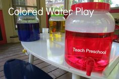 Using red, blue and yellow water to make new colors.  Looks fun! {Teach Preschool}