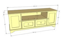 Ana White | Build a Media Console with DVD Drawer Storage, Cyndi Collection | Free and Easy DIY Project and Furniture Plans