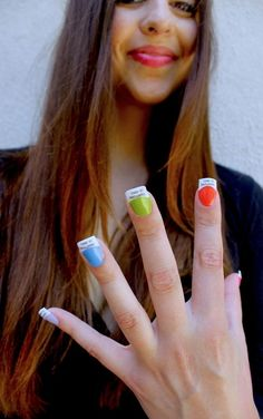 If Its Hip, Its Here: A Pantone Manicure. Colorful Pantone Chip Finger Nails Are A Handful of Fun. Creative Nail Designs, Colorful Nail Designs, Creative Nails, Nail Art Designs, Fingernail Designs, Nail Manicure, Diy Nails, Cute Nails, Nail Polish