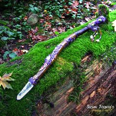 Magic Crystal Wand Lemurian Quartz Purple Amethyst Oak Leaves Autumn Driftwood Scepter Druid Ritual Celtic HARVEST HOME by Spinning Castle