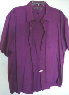 Mens Big Tall shirt purple Oleg Cassini cotton blend  #OlegCassini #ButtonFront