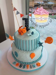 FIRST YEAR BIRTHDAY CAKE  FOR BOY TORTA PARA 1ER AÑO VARON   lascookiemakers@gmail.com