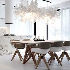 Wow ✌️ By  Stanislav  Boronzdinsky #interior_delux  #diningroom #kitchen #lighting #diningtable #diningchairs #spiseplass #kjøkken