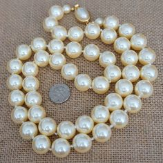 Vintage Estate NWOT CAROLEE Faux Ivory Pearl Necklace Pearl Cabochon Clasp #Carolee #MultiStrand