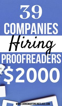 Looking for online proofreading jobs for beginners? Get this list of companies hiring proofreaders from home. Proofreading jobs are in high demand and can earn you up to $2000 per month! #onlineproofreadingjobs #careersfromhome #sidejobstomakemoney #earnmoneyfromhome #workathomejobs Work From Home Careers, Online Work From Home, Work From Home Opportunities, Work From Home Tips, Earn Money From Home, Way To Make Money, Make Money Online, Companies Hiring, Jobs Hiring