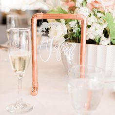 My favorite projects are the ones that take me to the plumbing aisle of Home Depot, like these copper pipe table number stands Wedding Table Decorations, Wedding Table Numbers, Wedding Centerpieces, Garden Decorations, Diy Wedding, Copper Wedding Decor, Wedding Ideas, Wedding Reception, Reception Signs