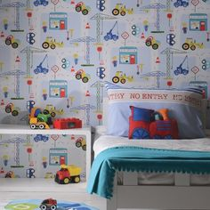 Road Works Ahead Construction Wallpaper is perfect for budding builders bedrooms and nurseries. Boys Bedroom Wallpaper, Red Wallpaper, Blue Wallpapers, Children Wallpaper, Wallpaper Borders, Wallpaper Ideas, Bedroom Themes, Kids Bedroom, Car Bedroom