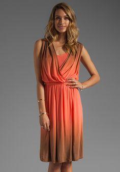 PLENTY BY TRACY REESE Dip Dyed Slinky Jersey Draped Surplice Dress in Clementine/Adobe