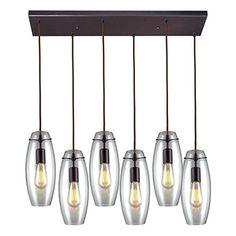 elk lighting 600446r six light pendant oil rubbed bronze finish