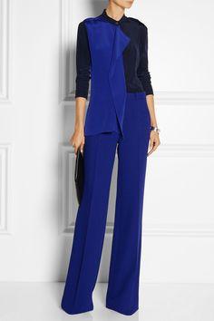 ROLAND MOURET Vespula draped silk-marocain blouse