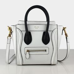 the most beautiful celine i have ever seen. beautiful black accent to a perfect white leather