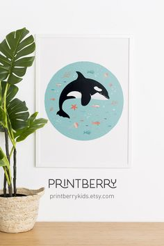 Looking for a orca print or a under the sea nursery art? This cute animal wall art is the perfect addition to your kids's nursery and also makes the perfect baby boy gift. Click through to view more matching prints! Sea Nursery, Themed Nursery, Nautical Nursery, Nursery Art, Art Wall Kids, Art For Kids, Whale Painting, Whale Decor, Whale Art