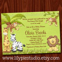 King of the Jungle Baby Shower Printable invitation