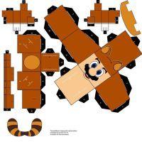 Tanooki Mario - cubeecraft / papercraft by MarcoKobashigawa