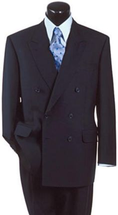 High Quality Navy Blue double breasted blazer with peak lapels ...