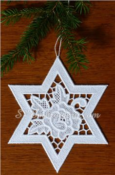 Freestanding lace star ornament