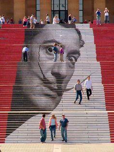 Salvador Dali portrait: Street Art / Museum of Art / Philadelphia 3d Street Art, Amazing Street Art, Street Art Graffiti, Street Artists, Salvador Dali, Banksy, Performance Artistique, Graffiti Kunst, Stair Art