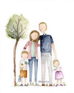 Sweet Family Portrait www.nikkeevincent… Sweet Family Portrait www. Family Picture Drawing, Family Portrait Drawing, Family Portrait Outfits, Family Portrait Poses, Family Posing, Portrait Wall, Beach Portraits, Portrait Ideas, Family Illustration