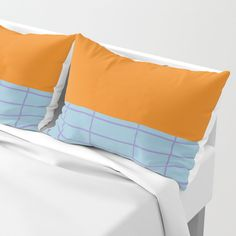 Orange Sky and Blue Grid Floor Pillow Sham