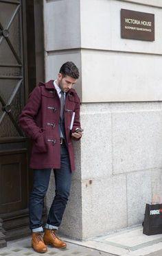 Shop this look on Lookastic:  http://lookastic.com/men/looks/long-sleeve-shirt-tie-duffle-coat-blazer-belt-jeans-boots/7639  — White Long Sleeve Shirt  — Charcoal Tie  — Burgundy Duffle Coat  — Navy Blazer  — Dark Brown Leather Belt  — Navy Jeans  — Tan Leather Boots