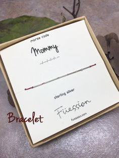 Morse Code Mommy Sterling Silver Bracelet Labeled