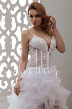 Short Wedding Dresses Spaghetti Straps Court Train Organza Stretch satin White 010011000666