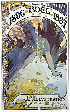 L'Illustration 'Noel' cover by Alphonse Mucha, 1896/97. I do love how the colors work together.