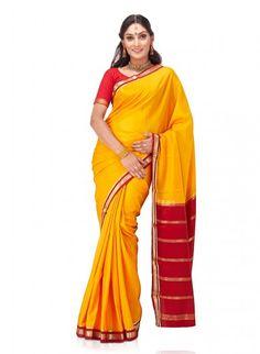 Mustard Yellow Pure Mysore Silk Saree