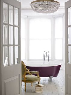 Heritage Bathrooms Porto Santo Bateau freestanding bath. - Find inspiration with the on-trend look of opting for a broken plan instead of an open plan. Think about creating zones in the bathroom with a dedicated space for your bath in your master bathroom. This gives greater privacy whilst maintaining a lovely flow in the space.