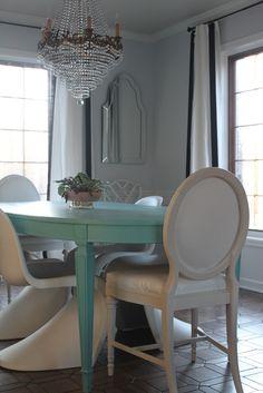 artsy table in modern kitchen