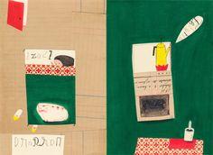 CATARINA SOBRAL | A retórica da parabólica — pencil, wax oil pastels, collage (2011)