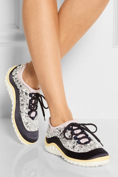 Miu Miu crystal-embellished satin sneakers