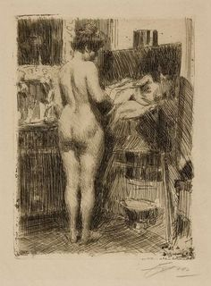 """Anders Zorn (Swedish, 1860–1920), """"Model Before Picture,"""" 1910."""