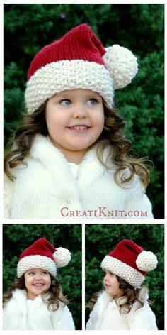 Santa hat - Free Knitting Pattern - This makes sizes newborn up to Adult. - Fill your project bag with Christmas magic & holiday sparkle! So soft and plus, a hat even 'Ol Saint Nick would be proud to wear! Knitting For Kids, Loom Knitting, Knitting Patterns Free, Free Knitting, Baby Knitting, Crochet Patterns, Free Pattern, Yarn Projects, Knitting Projects