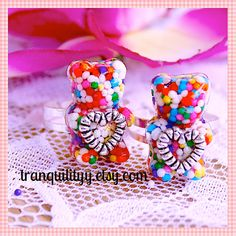 Gummy Bears Candy Sprinkle Heart Resin Ring  by tranquilityy