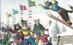 Cartão Postal Alfred Mainzer # 4721-Esqui in Colecionáveis, Cartões postais, Animais   eBay