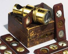 Vintage microscope and slides.