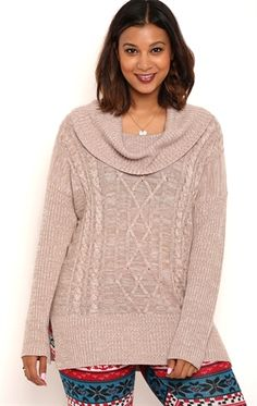 Plus Size Long Sleeve Cable Knit Tunic Sweater with Cowl Neck