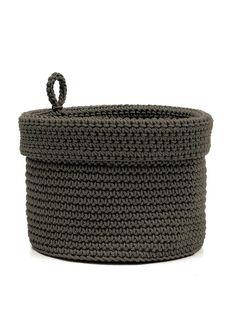 Mode Crochet 10X10 Basket W/Loop, Charcoal