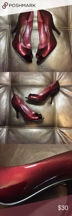 BCBG Burgundy Patent Leather Peep Toe Pumps Minor Flaws... please refer to pictures. Good Used Condition BCBGeneration Shoes