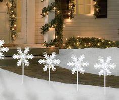 Winter Wonder Lane Cool White LED Snowflake Pathway Lights, at Big Lots. Blue Christmas Decor, Antique Christmas, Outdoor Christmas Decorations, Christmas Design, Rustic Christmas, Winter Decorations, Winter Wreaths, Primitive Christmas, Modern Christmas