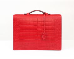 Peter Nitz Zurich - Peter Nitz Zurich - Hackney briefcase in red alligator and palladium lock.