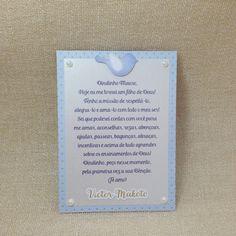Cartão com mensagem para padrinhos. Perfeito para anexar as lembrancinhas do evento. Detalhe de pérolas nas laterais do cartão.