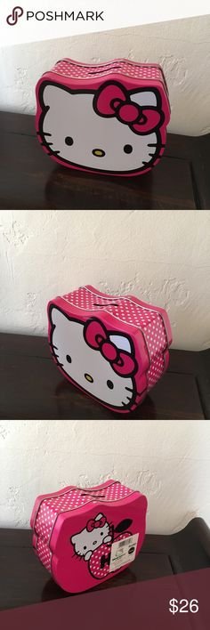 New Hello Kitty tin box piggy bank Last one display model. Very very minor blemishes on last photo very cute hello kitty tin bank Hello Kitty Bags