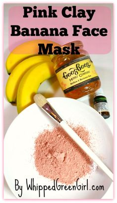Pink Clay Banana Face Mask (by WhippedGreenGirl.com) #DIY #Skincare #organic. Great for dry, sensitive skin