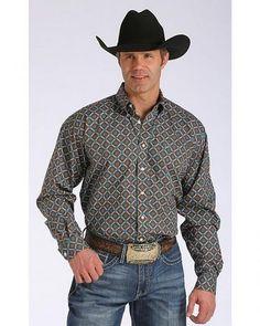 Cinch® Men's Brown and Teal Retro Print Button Down Shirt