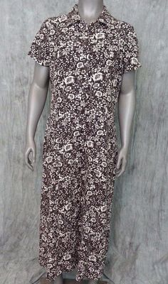 Christopher & Banks shirt dress linen blend short sleeve floral womens size 10 #ChristopherBanks #ShirtDress #Casual